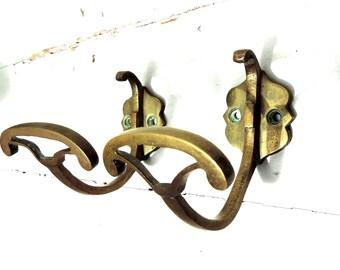 French Vintage Hooks/French Vintage Curtain Tie Backs/Vintage Wall Hooks/Curtain Tie Backs/Brass Hooks/Brass Tie Backs