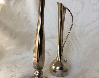 Silver Plate Bud Vases, Set of 2