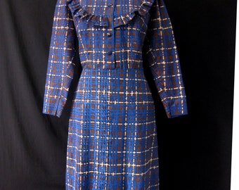 Vintage 1950s Taffetta Dress with Ruffle front.