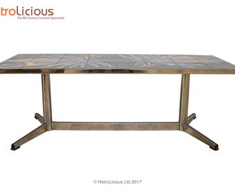 Danish Tiled & Chrome Coffee Console Table Retro Mid Century G Plan Eames Era