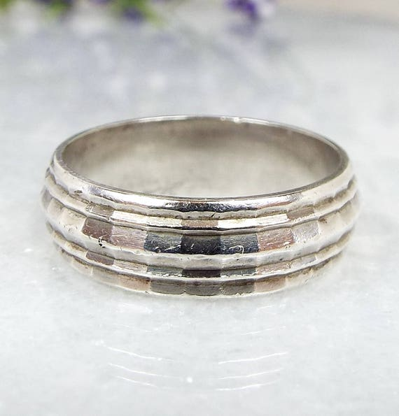 Vintage / Sterling Silver Diamond Cut Textured Wide Band Stacking Ring / Size L 1/2