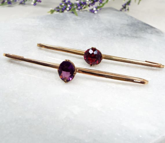 Antique / Set of 2 Edwardian Rolled Gold Ruby and Amethyst Paste Bar Brooch Pins
