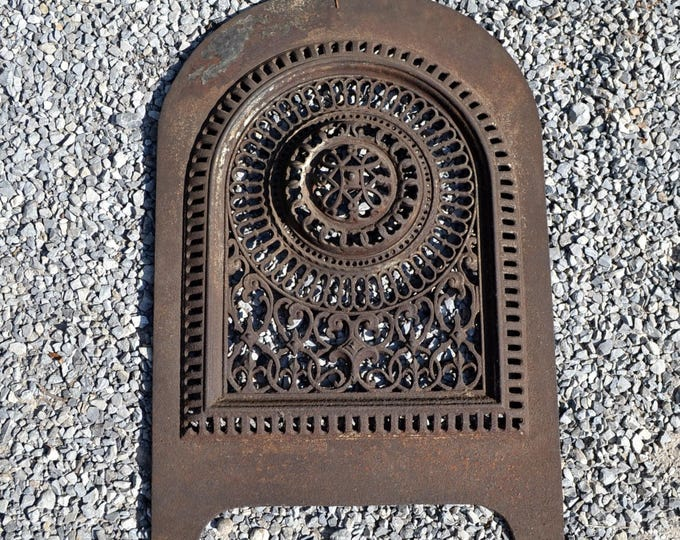 Antique Cast Iron Fireplace Cover Old Ornate Metal Architectural Salvage James L Jackson PanchosPorch