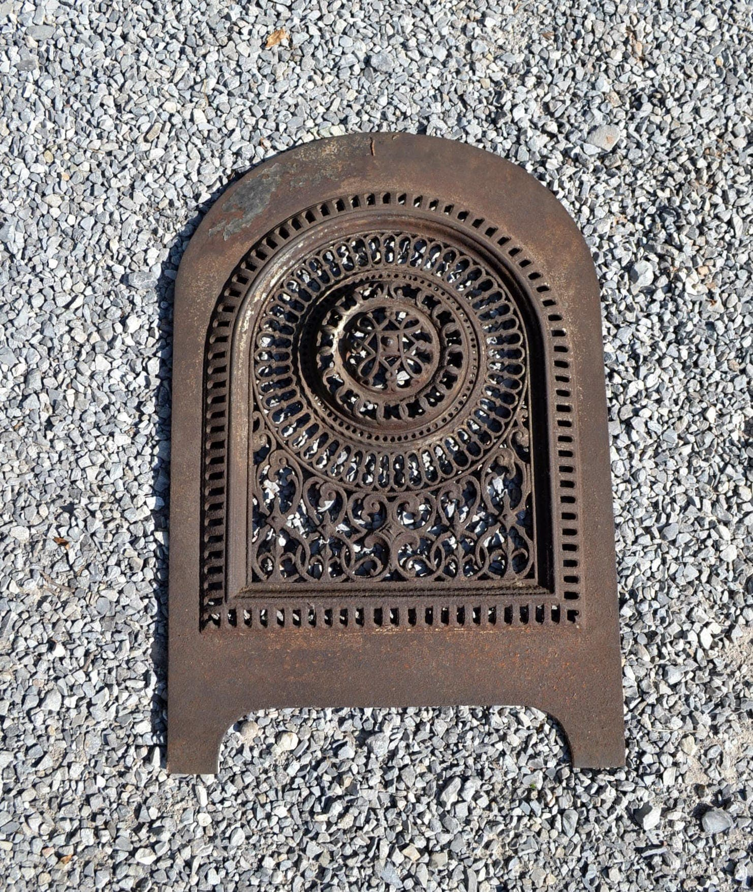 antique cast iron fireplace cover old ornate metal