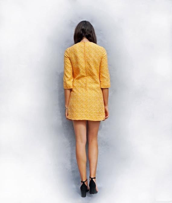 Yellow Dress, Wedding Guest Dress, Vintage 1960s Dress, Dress With Sleeves, Jacquard Dress, Party Dress, Evening Dress, Pale Yellow Dress 60