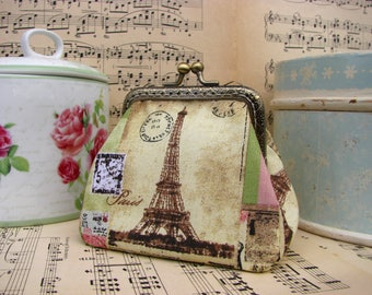 Vintage coin purse clutch with Eiffel tower and lady, kiss lock purse