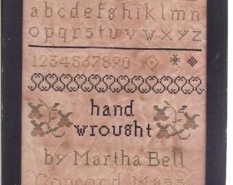 Primitive cross stitch, sampler chart/pattern,primitive needlework, band sampler, schoolgirl sampler, early American, Martha Bell