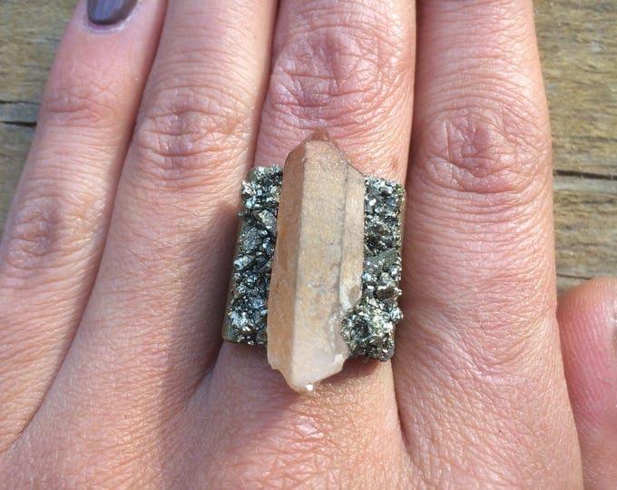 Tangarine Quartz Pyrite Ring