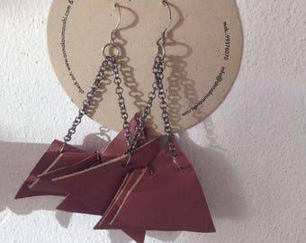 Leatherette Earrings / Brownish Earrings / Leatherette Magenta Earrings / Leatherette Chain Earrings