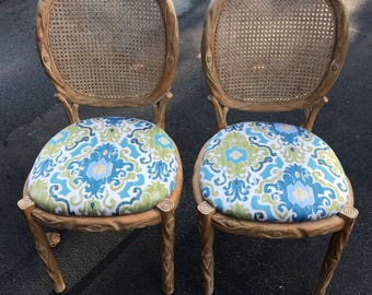 Beautiful pair (2) of vintage faux bois chairs - made in Spain ON SALE!
