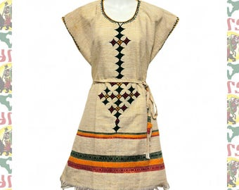 Ethiopian Traditional Hand Embroidered Tunic Dress