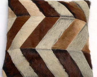 Natural Cowhide Luxurious Patchwork Hairon Cushion/pillow Cover (15''x 15'')a227