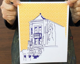 "Washington DC Letterpress Poster | Madams Organ in Adams Morgan | royal blue & light orange 8"" x 10"" poster"