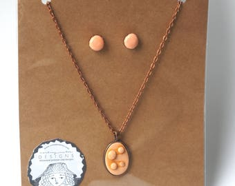 Copper Earring and necklace set in pale peach polymer clay original art by Cortney Rector Designs