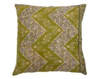 Kantha Cushion Cover - Olive Green and Off White