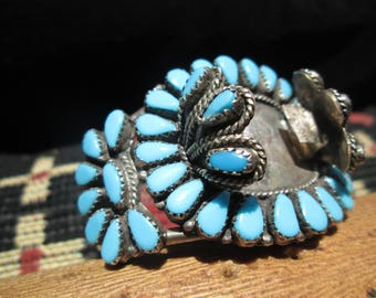 Petit Point Turquoise and Sterling  Watch Cuff