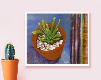 Succulent art Abstract terra cotta painting Mixed media wall art Original artwork Cactus art Plant painting