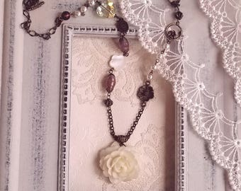 Antique inspired Rose pendant necklace Flower jewelry Pearl and crystal necklace