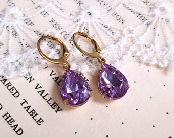 Sparkling pear shape teardrop lavender crystal drop earrings Leverback antique gold earwires Vintage inspired Gift earrings