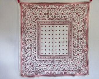 Vintage Scarf white pink Baroque Versailles Style 67cm x 63cm