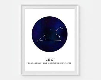 Leo Astrology Art, Leo Constellation Print, Leo Wall Art, Zodiac Art, Leo Print, Astrology Wall Art, Astrology Gift