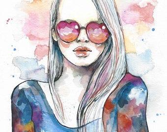 My pink world, ORIGINAL watercolor painting