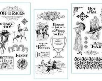 Graphic 45 Off to the Races Stamp Set Collection