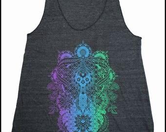 Women's PERENNIALS Mandala Tank Dotwork Sacred Geometry Psychedelic Symmetry Shirt