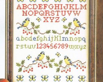 CROSS STITCH PATTERN - Song Bird Sampler Counted Cross Stitch - Alphabet Sampler Cross Stitch