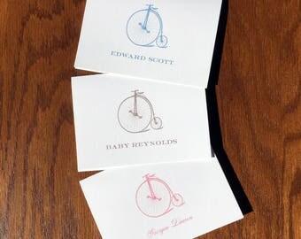 Velocipede boy baby shower thank you cards, transportation nursery decor theme, personalized baby stationery, baby boy thank you cards