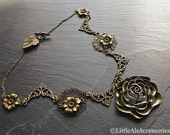 Bronze Flower Necklace, Gothic Jewelry, Bronze Floral Pendant, Floral Jewelry, Gift For Her, Steampunk Vintage, Chunky Statement Necklace