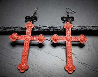 Oversized Cross Earrings, Cross Earrings, Large Cross Earrings, Gothic Cross Earrings, Gothic Jewelry, Gothic Earrings, Cross Jewelry, Gift
