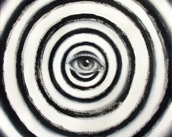 HIPNOTEYES - original oil on canvas painting - 8x8 inches - black and white swirly eye - psychedelic realism 2D art