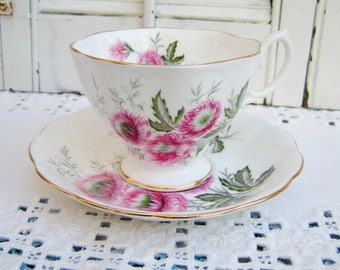 Vintage English Bone China Tea Cup and Saucer by Royal Albert in a Pink Thistle Pattern Tea Party Pink Floral Tea Cup Saucer Made in England
