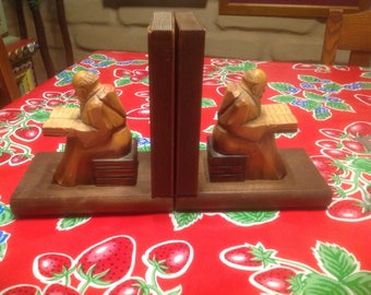 vintage hand carved wooden monk bookends