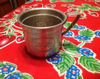 Vintage tin children's circus cup or mug