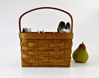 Vintage Split Oak Basket Utensil Holder, Bent Wood Stationary Handle, Picnic Caddie, Divided Basket Office Supplies, Craft Supply Organizer