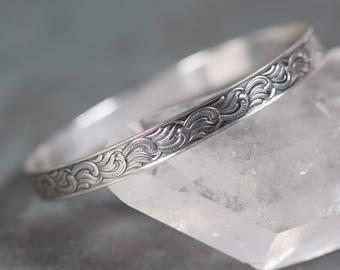 Antique Edwardian  Sterling Silver Bangle Bracelet