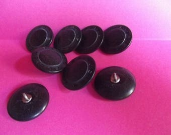 10 plastic buttons black and grey, diameter 28mm silver metal shank.
