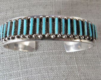 Stunning vintage Zuni petit point/needlepoint  handcut sterling silver and turquoise cuff bracelet