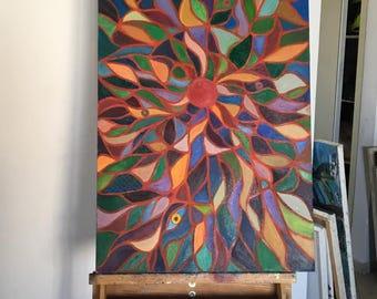 Leaves  canvas on cardboard
