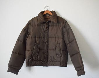 Free usa Shipping Vintage Men's puffy jacket-vest/ ski jacket/ outwear/ Sears/ chocolate brown/
