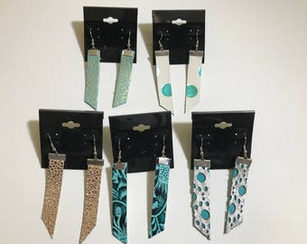 Real leather earrings, bar style