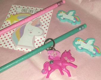 Pastel UNICORN Stationery Set & Keychain Craft Supply Gift Set Rainbow Sticky Notes Memo Pad Turquoise Erasers, Glitter Pencils Pink KeyRing