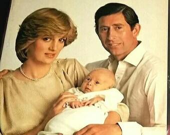 PRINCE WILLIAM Royal Baby Book Birth Princess Di Diana & Prince Charles Vintage British Monarchy Crown Knight Royal Family Baby Shower Gift