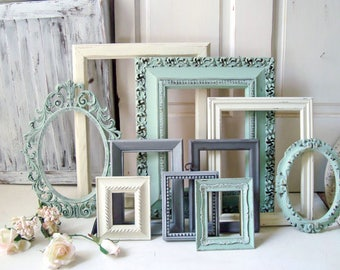 mint picture frame set shabby chic frames wall gallery frames wedding frames - Mint Picture Frames