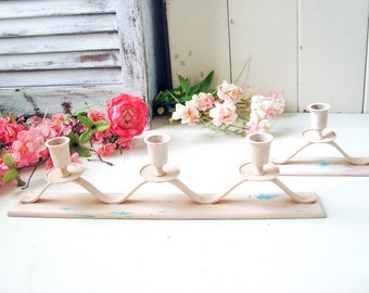 Pink Candleholders, Vintage Taper Candlestick Holders, Set of 2 Candle Holders, Antique Pink Mantle Candleholders Nursery Decor, Shabby Chic