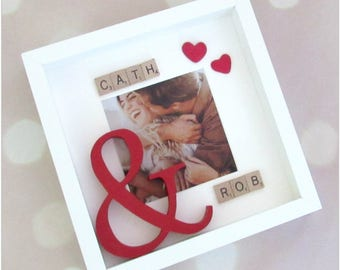 Gorgeous personalised picture frame with large red & sign, wooden tile names and heart embellishment..great for valentines day, wedding gift