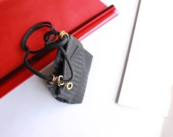 90s black pinstripe shoulder bag long drop purse gold hardware mini bag purse