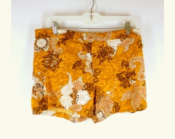 Vintage Men's Canvas Shorts,  Swimming Trunks,  Indian Summer,  Autumn Tones, 32-33 inch, 1960s 1970s